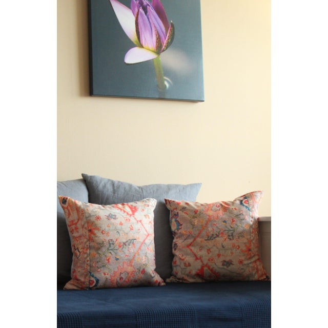 Multi-Colored Rug Print Pillow Covers - A Pair - Image 6 of 7