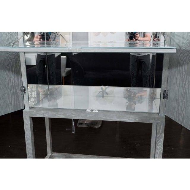 Wood Custom Gray Cerused Bar For Sale - Image 7 of 10
