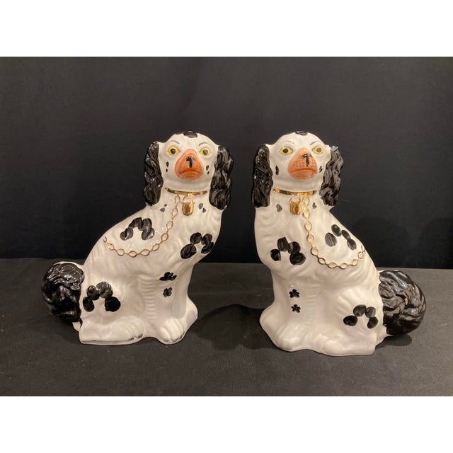 Vintage Early 20th Century English Staffordshire Black and White Dog Figurines - a Pair For Sale - Image 13 of 13