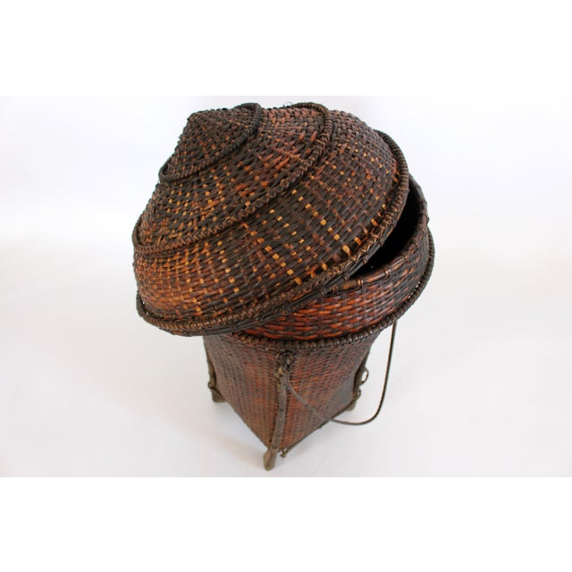 Early 20th Century Woven Storage Basket with Lid For Sale - Image 5 of 10