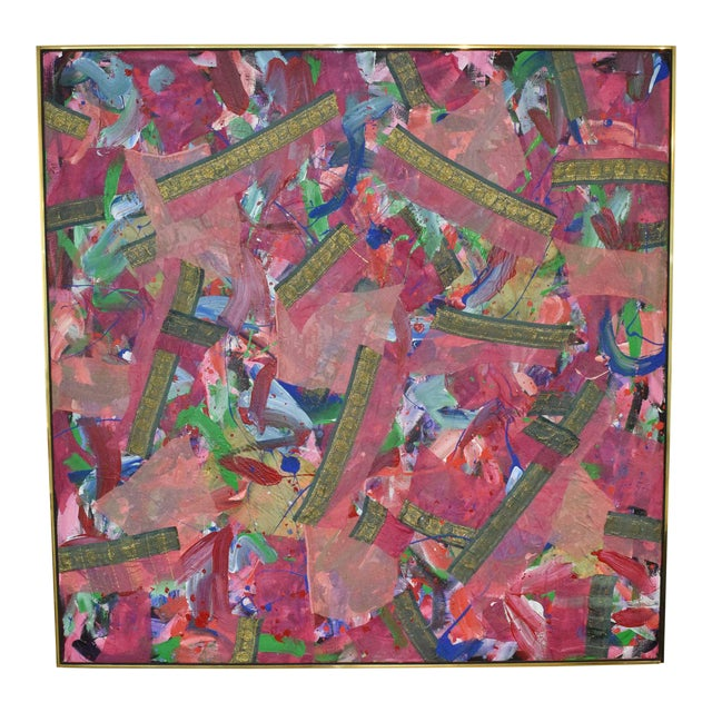 Joseph M. Glasco Oil and Collage on Canvas, #34, Dated 1985 For Sale