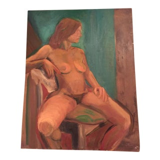 Vintage Female Seated Nude Oil on Canvas For Sale