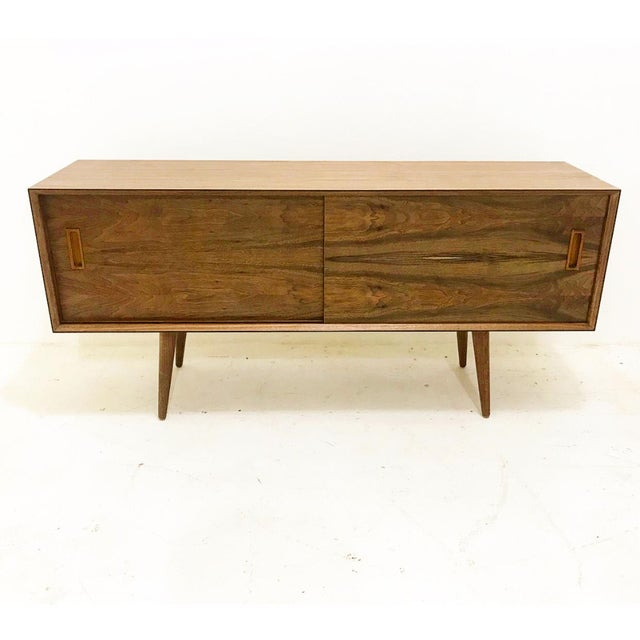 Mid Century Style Walnut Credenza For Sale - Image 4 of 4