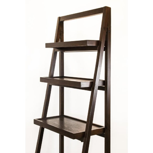 Contemporary Contemporary Dark Wood Five-Tier Leaning Bookcase For Sale - Image 3 of 6