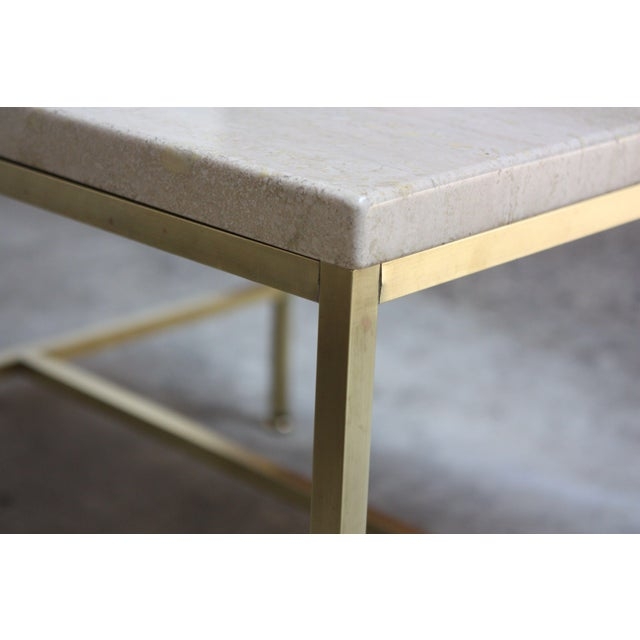 Paul McCobb Travertine and Brass Occasional Tables For Sale - Image 10 of 13