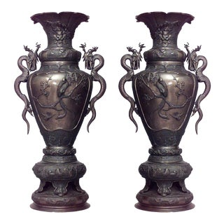 Pair of Asian Japanese Style Bronze Palace Urns For Sale