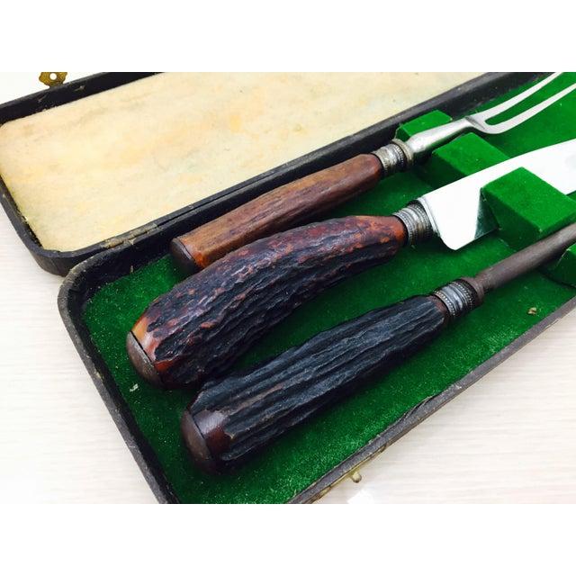 English Traditional Vintage Sheffield Silver & Antler Horn Carving Set For Sale - Image 3 of 7