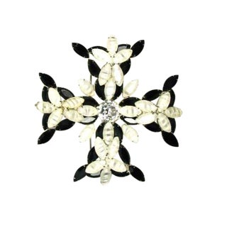 1960s Kenneth J.Lane Maltese Cross Rhinestone Brooch For Sale