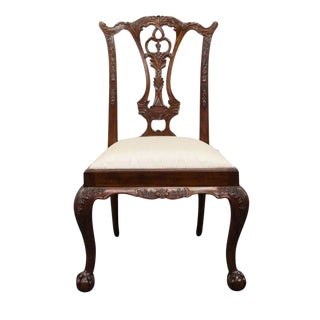 Maitland Smith Solid Mahogany Ball & Claw Chippendale Side Chair For Sale