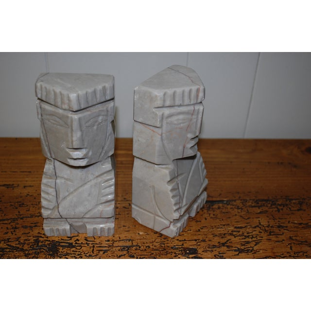 1950s Gray Marble Aztec Bookends - Image 6 of 7