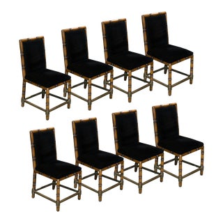 Dining Chairs of Faux Bamboo and Brass, France - Set of 8 For Sale