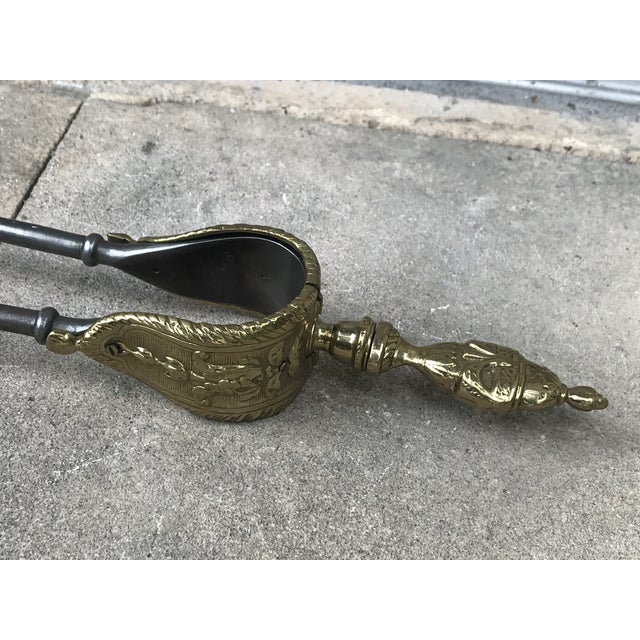 Gold English Polished Steel and Brass Fireplace Tools - 3 Pc. Set For Sale - Image 8 of 11