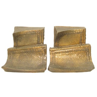 Bronze Book-Form Bookends, Pair For Sale