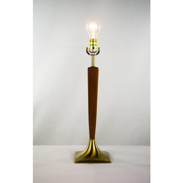 Danish Modern Danish Modern Teak & Brass Table Lamp For Sale - Image 3 of 10