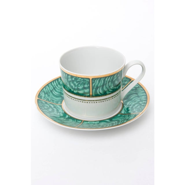 Georges Briard Georges Briard Imperial Malachite Porcelain China Service - Set of 16 For Sale - Image 4 of 10