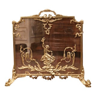 19th Century French Louis XVI Gilt Bronze Fireplace Screen With Cherub Decor For Sale