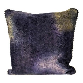 Richard Fischer Christmas Collection Hand Painted Embroidered Velvet Pillow With Swarovski Crystals Trim-Blue For Sale