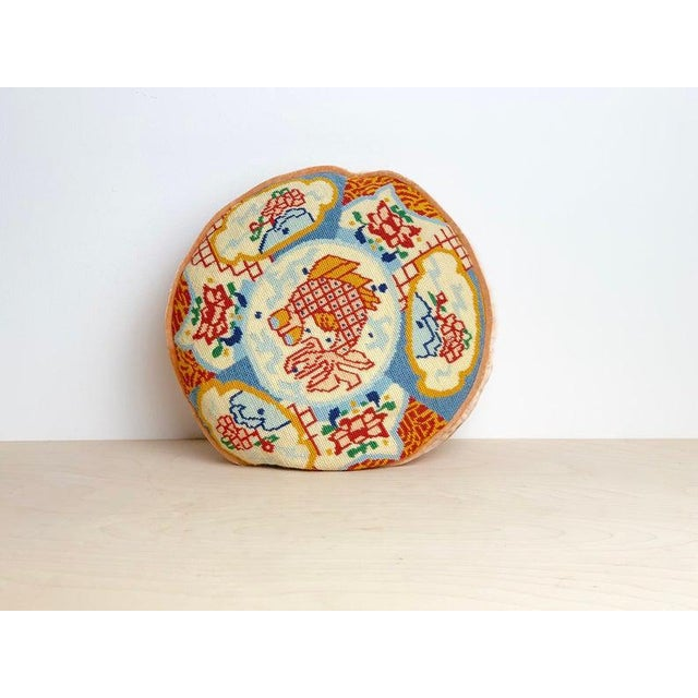 1960s Ming Round Koi Fish Needlepoint Pillow For Sale In Atlanta - Image 6 of 6