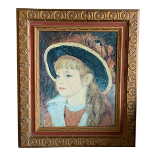 Mid 20th Century Portrait of Renoir's Young Girl, Framed For Sale