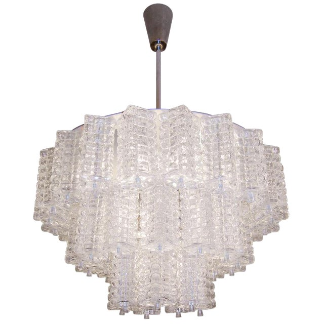 Orrefors 3 Tiered Crystal Chandelier For Sale