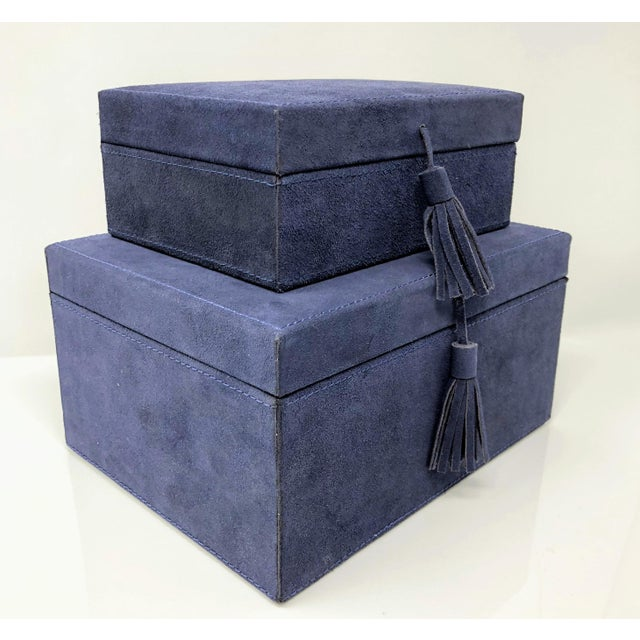 Ralph Lauren Inspired Navy Blue Suede Leather Box - Medium For Sale - Image 10 of 11