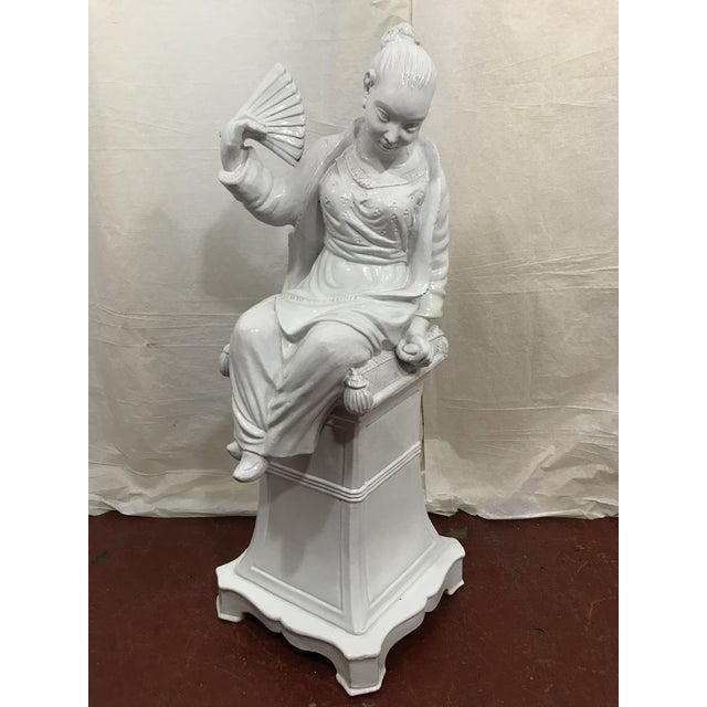 Mid-Century Modern Italian White Glazed Asian Figures a Pair For Sale - Image 3 of 9