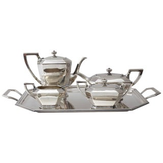Art Deco Sterling Silver Five-Piece Coffee Tea Service For Sale