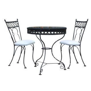 Mid-Century Modern Vintage Patio Table & Chairs Bistro Set For Sale