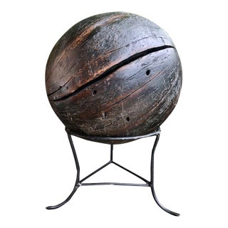 "Teak Ball With Stand - 12"" For Sale"