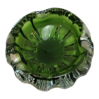 Murano Sommerso Green Glass Bowl For Sale