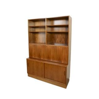 1960s Danish Modern Walnut Wall Unit Desk Bookcase Hutch For Sale