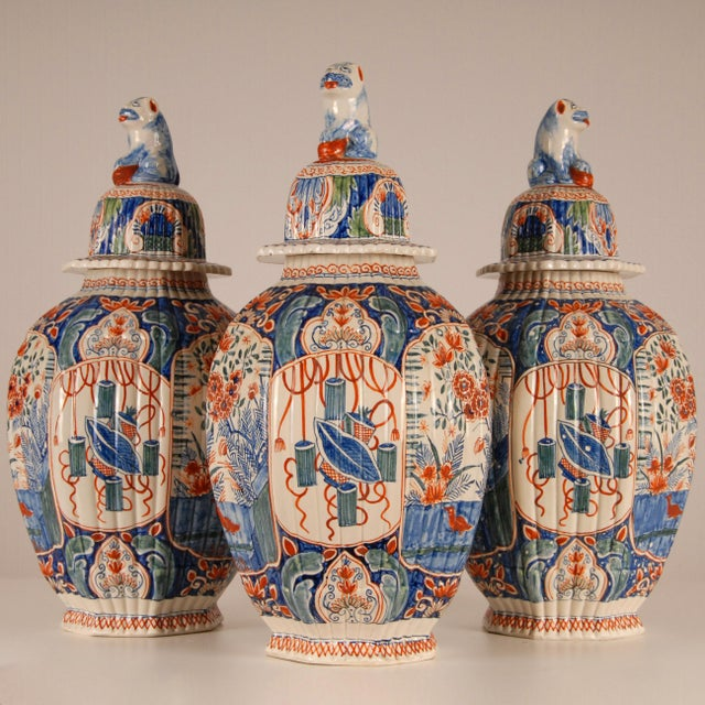 Antique French Delftware Pottery Tinglazed Vases & Covers - Set of 3 For Sale - Image 12 of 12