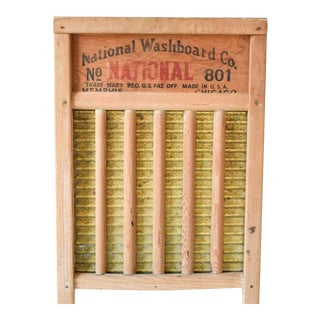 Antique Wood And Brass National Washboard Co. No. 801 Washboard For Sale