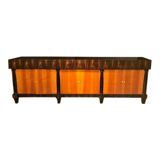 Palatial Six Door Macassar Sideboard Cabinet Ebonized Column and Feet Support For Sale
