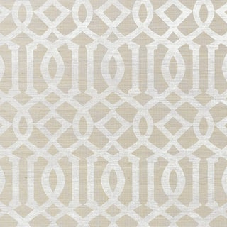 Sample - Schumacher Imperial Trellis Sisal Wallpaper in Sand For Sale