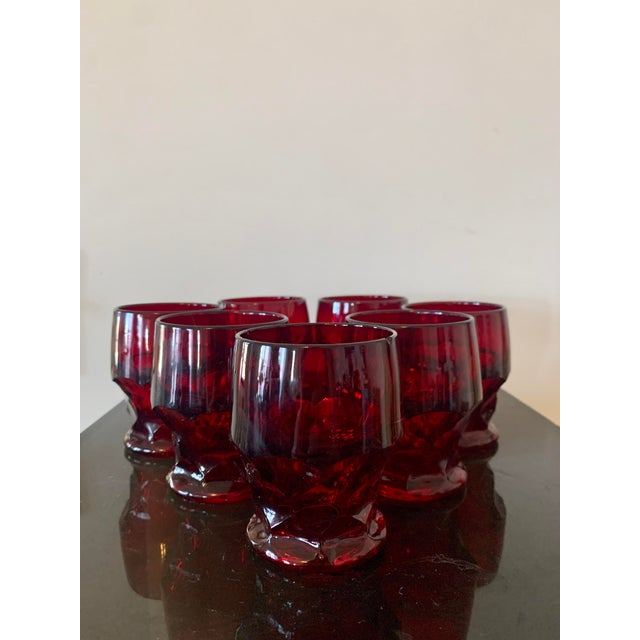 Mid-Century Modern Vintage Viking Georgian Ruby Red Whiskey Glasses- Set of 7 For Sale - Image 3 of 8