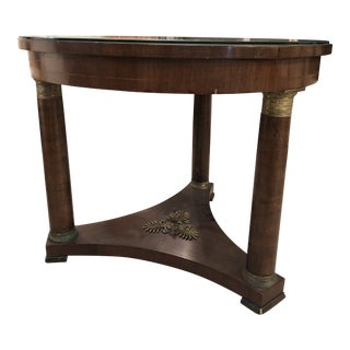 19th Century Empire Mahogany Round Table With Glass Top For Sale