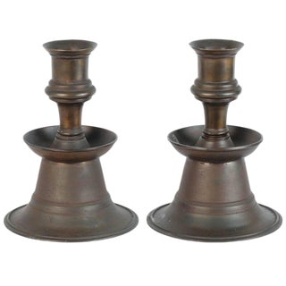 Massive Pair of Ottoman Empire Cast Bronze Candleholders For Sale