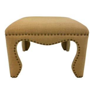 Transitional Burlap Ottoman With Antique Brass Nailheads For Sale
