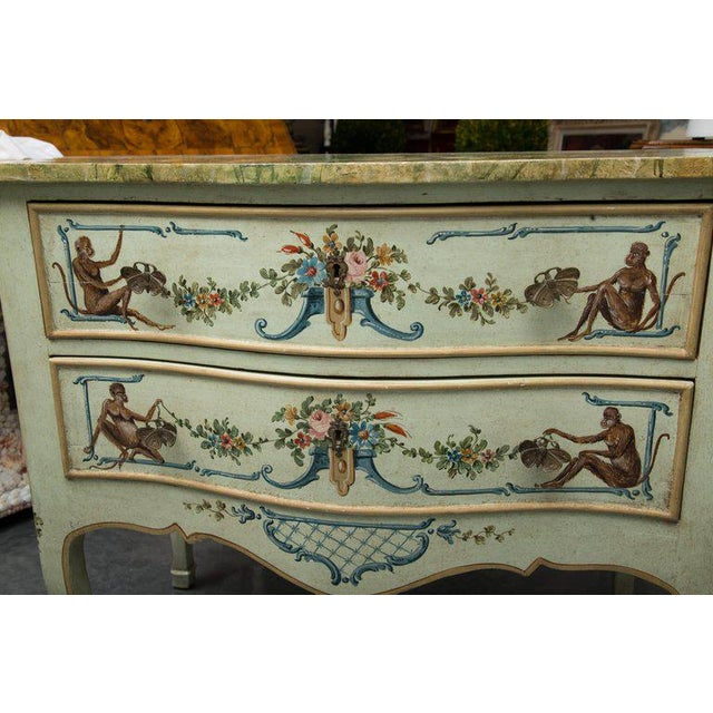Venetian Hand-Painted Serpentine Commode For Sale In West Palm - Image 6 of 10
