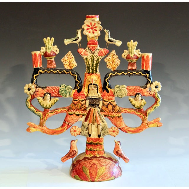Vintage Mexican Tree of Life Pottery Aurelio Flores Candelabra Sculpture For Sale - Image 13 of 13