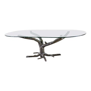 French Bronzed Faux Bois Tree Sculpture Dining Table For Sale
