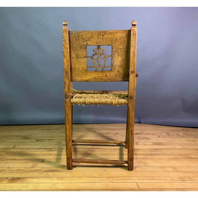 Early 19th Century 1823 Danish Carved Pine and Rope Armchair, Crowned Monogram For Sale - Image 5 of 12
