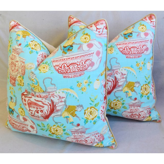 """White Aqua Chinoiserie Playful Monkeys & Chinese Vases Feather/Down Pillows 26"""" Square - Pair For Sale - Image 8 of 13"""