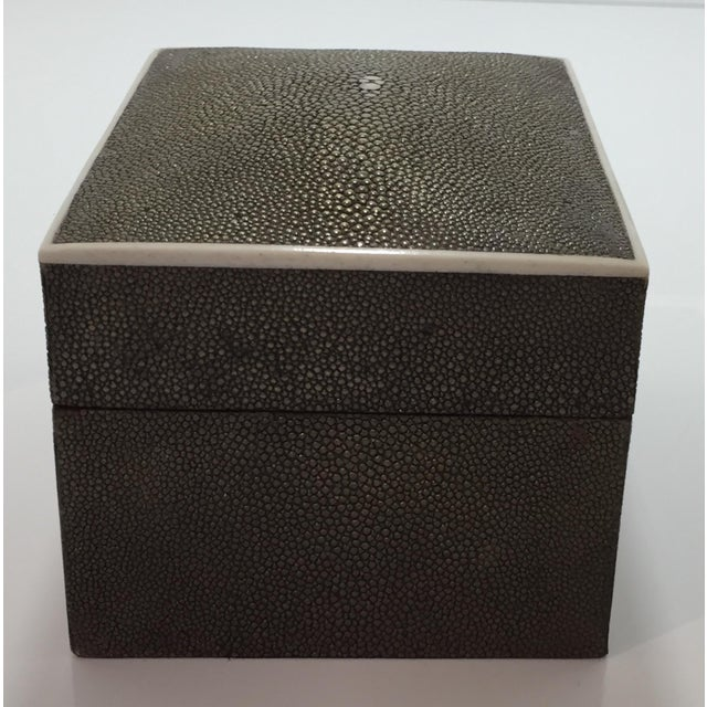 Dark green Shagreen box by R & Y Augousti with ivory border and brand stamp at underside from Paris. Made in the 1990s.