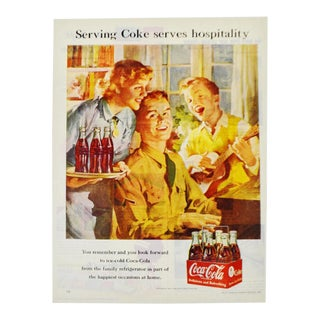 Vintage 1951 Coca Cola Print Ad, Serving Coke Serves Hospitality For Sale