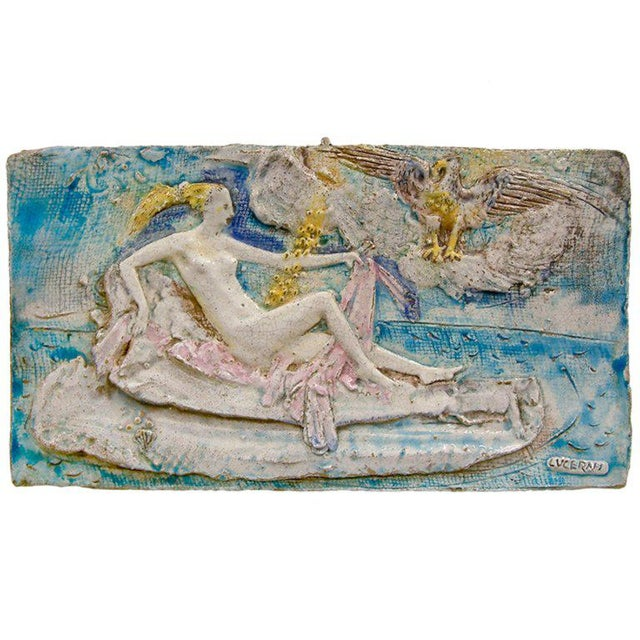 Blue Ugo Lucerni Majolica Wall Relief For Sale - Image 8 of 8