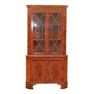 1960s Mid Century Modern Walnut/ Burl Ambouna Corner Cabinet For Sale