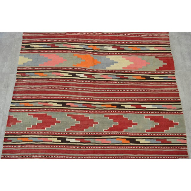 Antique Turkish Kilim Hand Woven Wool Large Runner Rug - 6′5″ × 13′8″ - Image 7 of 10
