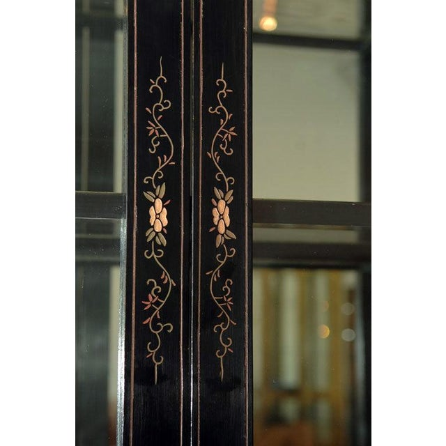 Monumental Black Lacquer and Gold Leafed Chinoiserie Breakfront - Image 6 of 6